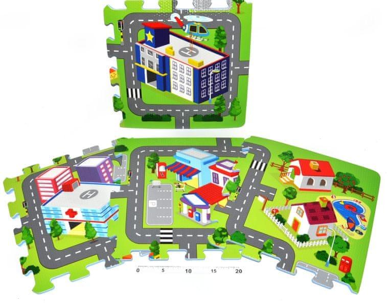 Teddies BABY Pěnové puzzle Město 32 x 32 cm, 9ks