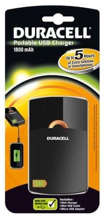 Duracell prenosni USB polnilnik 1800 mAh Li-Ion baterija