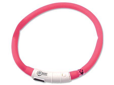 Dog Fantasy svetleča ovratnica, roza, 70 cm