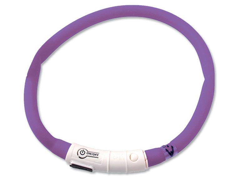 Dog Fantasy obojek světelný fialový 45 cm
