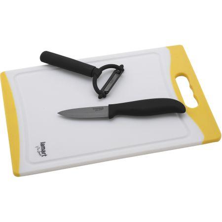 Lamart set - keramični nož, lupilec in deska, rumen