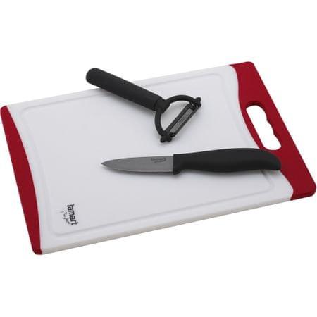Lamart set - keramični nož, lupilec in deska, rdeč