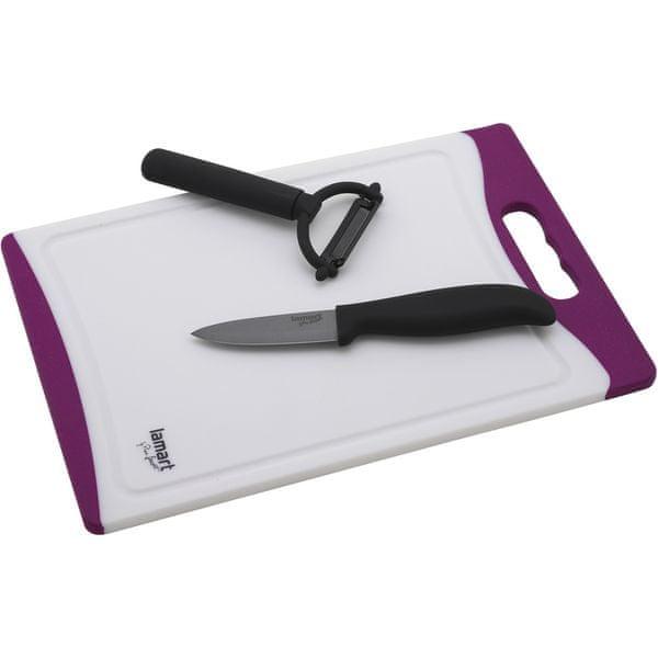 Lamart Keramický nůž, škrabka a prkénko LT2020 fialová