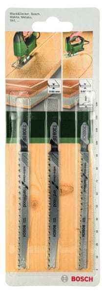 Bosch Sada pilových listů T stopka, 3 ks (tvrdé dřevo)