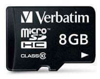 Verbatim microSD kartica, 8 GB, HC Class 10, z adapterjem