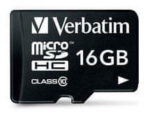 Verbatim microSD kartica, 16 GB, HC Class 10, z adapterjem