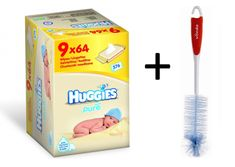 Huggies vlažni robčki Pure Nine Pack, 9 x 64 kos + darilo Vileda krtačka za steklenice