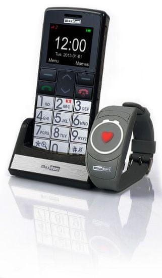 MaxCom mobilni telefon MM715 z SOS zapestnico, črn - Odprta embalaža