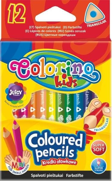 Pastelky trojhranné poloviční, 12 barev Colorino Kids