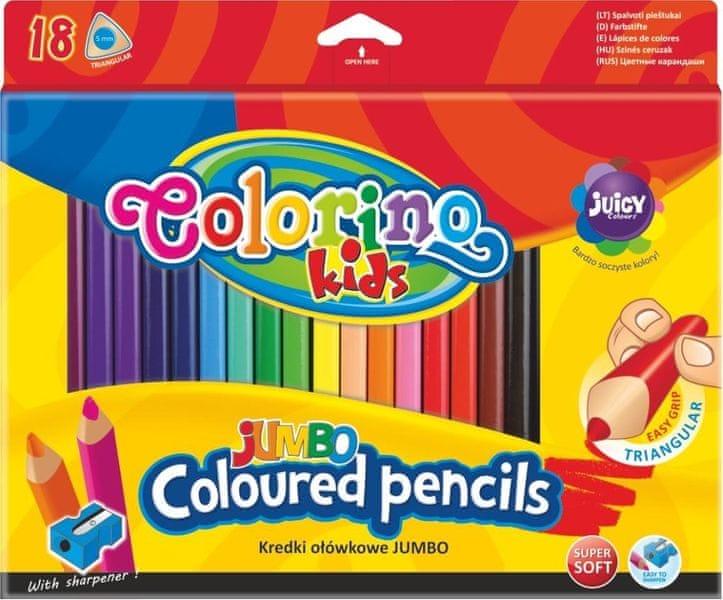 Pastelky trojhranné Colorino JUMBO 18 barev + ořezávátko