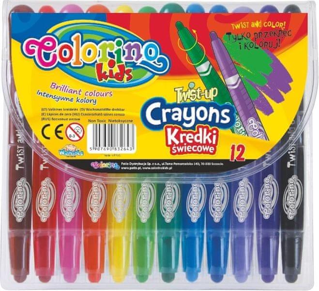 Pastelky voskové Colorino vysunovací 12 barev krátké