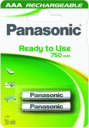 Panasonic polnilna baterija AAA HHR-4MVE, 2 kosa