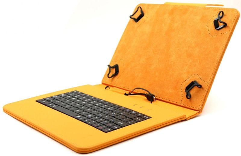 """C-Tech PROTECT pouzdro univerzální s klávesnicí pro 10,1"""" tablety, FlexGrip (NUTKC-04O) oranžové"""