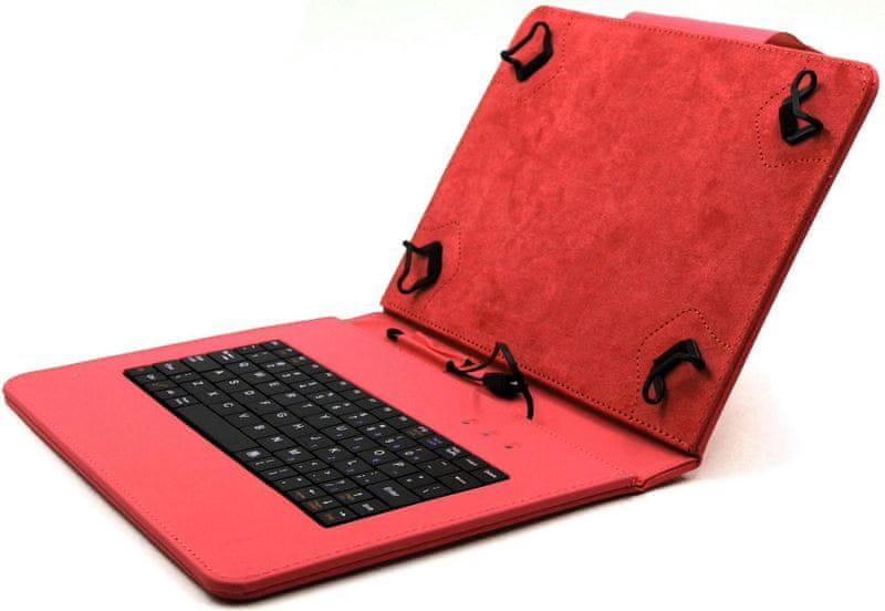 """C-Tech PROTECT pouzdro univerzální s klávesnicí pro 10,1"""" tablety, FlexGrip (NUTKC-04R) červené"""