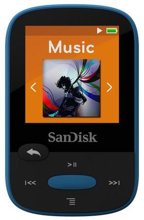 SanDisk odtwarzacz mp3 Clip Sport 8 GB, niebieski (SDMX24-008G-G46B)
