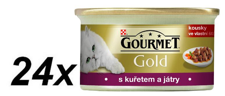 Gourmet Gourmet Gold s kuřecím masem a játry 24 x 85 g