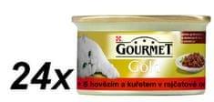 Gourmet  Gold s hovězím masem a kuřetem v rajčatové omáčce 24 x 85g