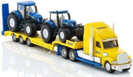 SIKU tovornjak vlačilec z dvema traktorjema New Holland, 1:87