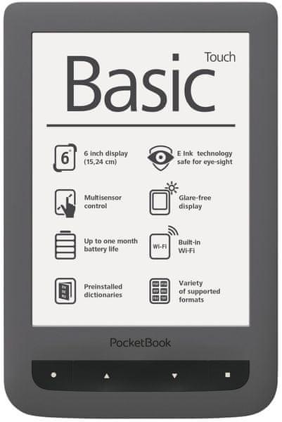 PocketBook 624 Basic Touch šedý + 100 knih ZDARMA!