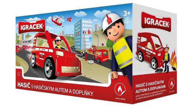 Igráček Hasič s hasičským autem a doplňky