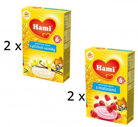 Hami Mléčná kaše s příchutí Vanilky a s Malinami- 4 x 225g