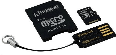 Kingston microSDXC 64GB (class 10) + adaptér + USB čtečka