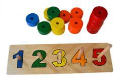 Montessori pomůcky Tyčky sbarevnými kruhy na počítání