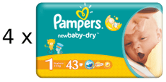 Pampers New Baby pieluchy 1 Newborn (4 x 43 szt) 172 szt
