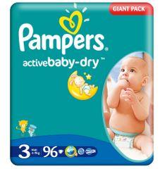 Pampers Pleničke Active Baby Midi (3), 4-9 kg, 96 kosov