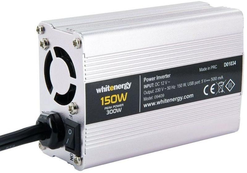 OEM WE Měnič napětí DC/AC 12V / 230V, 150W, USB, mini (09409)