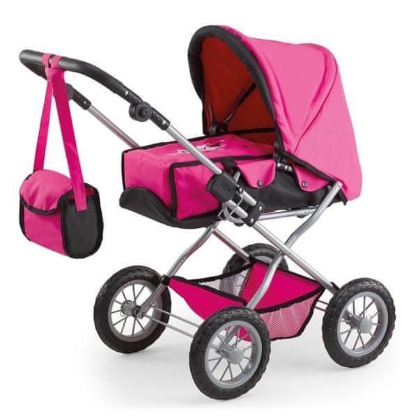 Bayer Design Kočárek pro panenky Kombi Grande růžová/černá