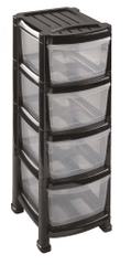 Heidrun Regál se 4 zásuvkami černý