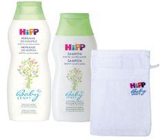 HiPP Babysanft Ošetřující přípravek do koupele 350ml + Jemný šampon 200ml + HiPP žínka