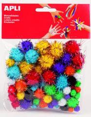 Pom pom APLI se třpytkami mix velikostí a barev/78 ks