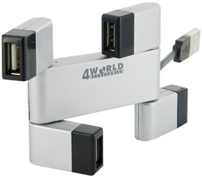 4World 4-portový USB 2.0 hub Folded stříbrný
