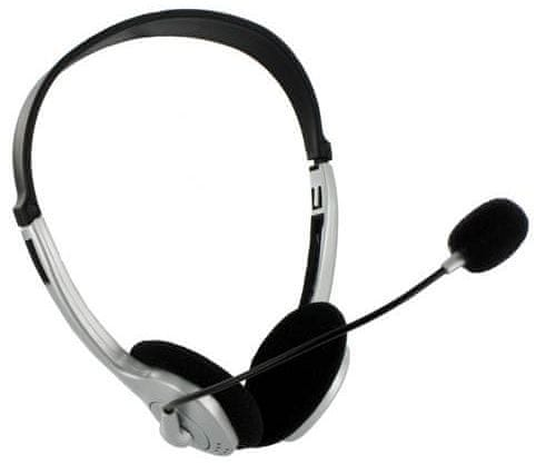 4World Sluchátka s mikrofonem stříbrná, regulace hlasitosti na kabelu