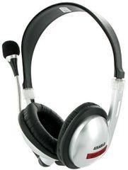 4World Sluchátka s mikrofonem stříbrná, s pohodlnými náušníky