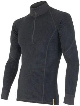 Sensor Double Face Merino Wool triko pánské dlouhý rukáv se zipem černá S