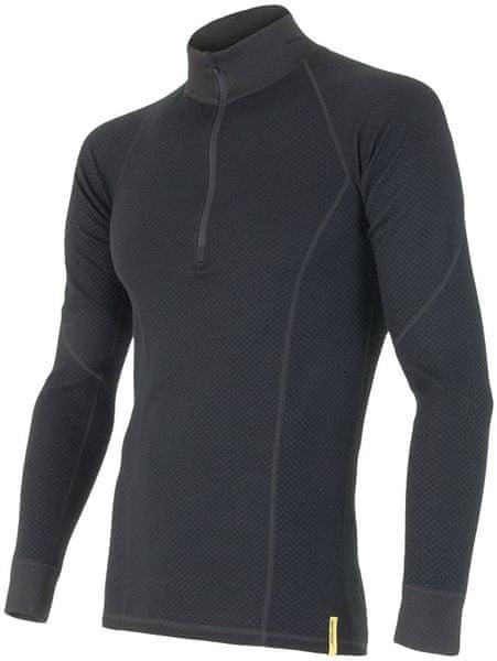 Sensor Double Face Merino Wool triko pánské dlouhý rukáv se zipem černá M