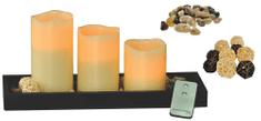 Solight 3x LED svíčka, barva přírodní vosk, dřevěný podnos včetně dekorací