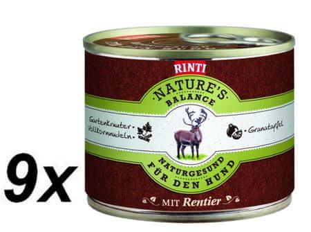 RINTI Nature´s Balance mokra hrana za pse, jelen, testenine in jajca, 9 x 185 g