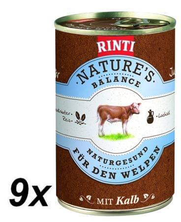 RINTI Nature's Balance mokra hrana za pse, teletina, testenine in jajce, 9x 400 g