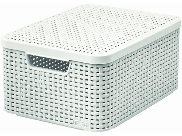 Curver Rattan Style box s víkem M smetanový