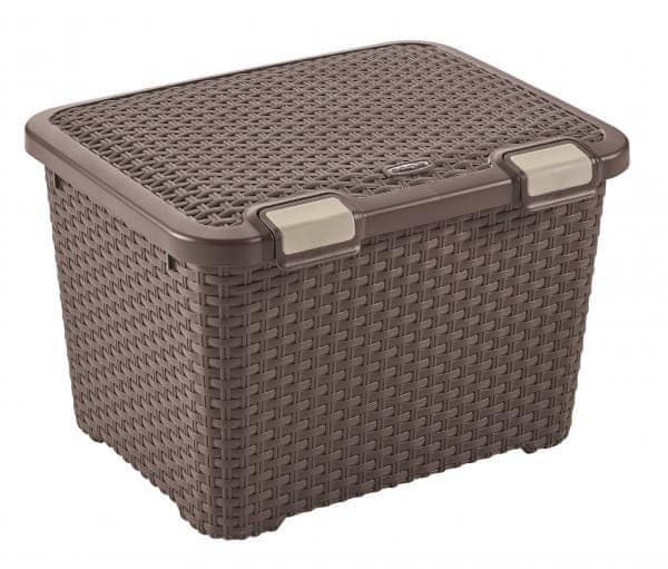 Curver Úložný box Rattan Style 43 l tm. hnědý