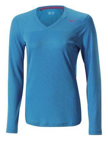 Mizuno majica z dolgimi rokavi Breath Thermo V Neck, ženska, modra, M