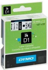 Dymo trak za tiskanje nalepk D1, širina 12mm/7m, 45010, črno/prozoren