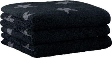 Cawö Frottier 3szt. Small Stars ręczniki 50x100 cm, czarne