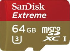 Sandisk microSDXC 64GB UHS-I (class 10 / U3) Extreme 60MB/s + adaptér na SD (SDSDQXL-064G-GA4A)