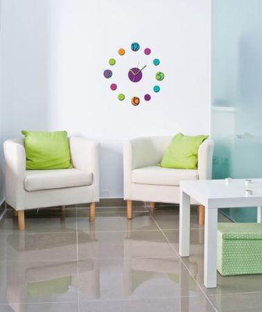 Crearreda stenska dekorativna nalepka, 3D ura barvita M