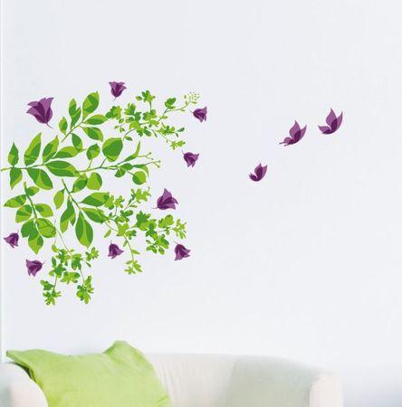 Crearreda stenska dekorativna nalepka, listi in metulji M